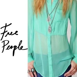 Free People Green Sheer Button Down Top